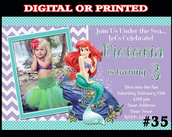 Ariel The Little Mermaid Birthday Invitation with Photo You Print Digital OR Printed  003