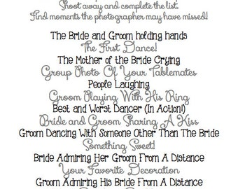 Instant Download - DARK GRAY - I Spy Wedding Game
