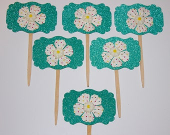 Polka Dot Flower Cupcake Toppers