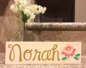 Girl floral name wood sign; Custom, personalized nursery, wall decor