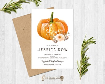 Pumpkin Baby Shower Invitation Fall Autumn Blush Pink Peach Floral Printable Digital File or Prints with Free Shipping Elegant