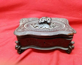 Antique Old Hand Carved Wood Wooden Black Forest Jewelry Box Carving Floral