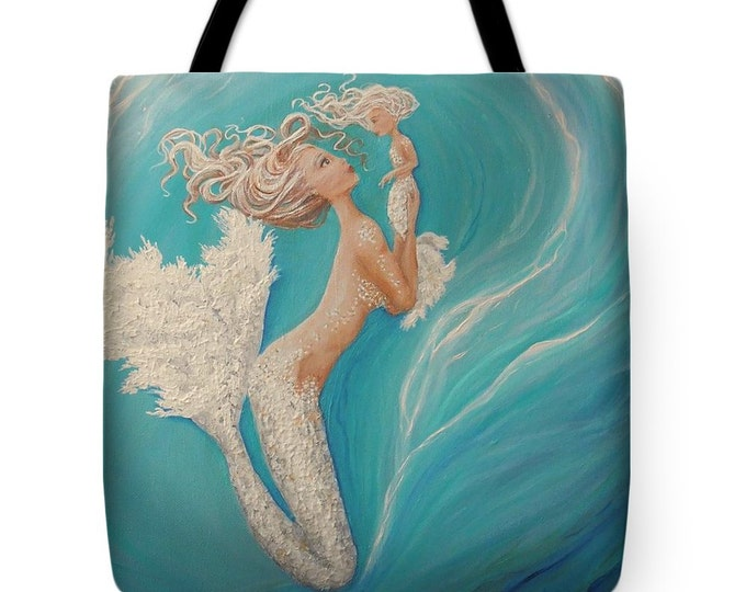 Mermaid tote bag, mermaid purse,  mermaid teal beach tote, original painting by Nancy Quiaoit at NancyQart