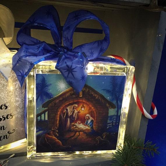 Nativity Glass Block Home Decor Unique Gift
