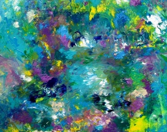 Acrylic Painting Canvas Art Giclee FLORAL GICLEE PRINT Abstract Landscape Art Prints Original Abstract Canvas Art Turquoise Purple Art Print