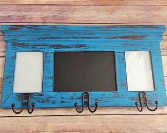 Coat Rack Shelf with Frames Chalkboard/Mirror Farmhouse Up Cycled Eco Friendly READY TO SHIP
