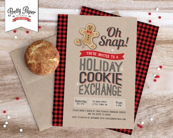 Oh Snap! Holiday Cookie Exchange Invitation // Buffalo Plaid // Cookie Swap Invite // Cookie Decorating // Christmas Printable // CE02