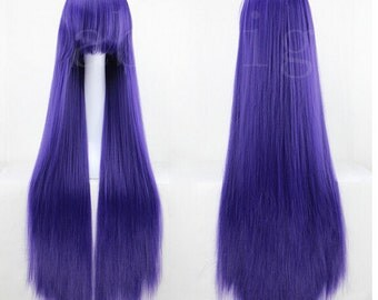 "39"" Long Straight Wig Purple Lolita Cosplay Hairpiece For Women"