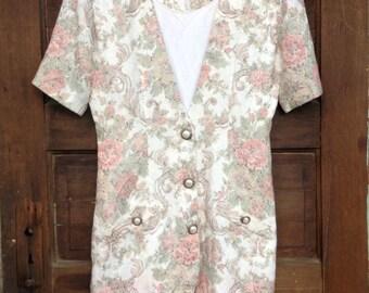 Vintage 90's Floral Tapestry Midi Dress by Dawn Joy Fashions size Medium