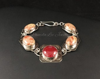 Spiderweb Agate and Autumn Jasper Bracelet in Sterling Silver