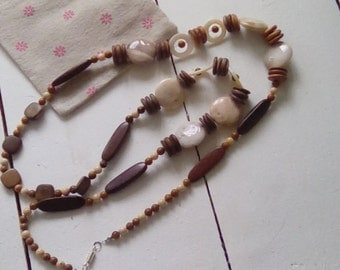 Wood and stone bead long necklace