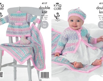 King Cole 4117 Knitting Pattern Baby Child coat, blanket and hat 16-26 inch chest (41-66cm) 0=7 yrs new