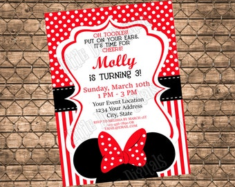 Personalized Minnie Mouse Birthday Party Invitation - Digital File or Printed Copies - Girl Red and Black Polka Dot and Stripe - 5x7 or 4x6