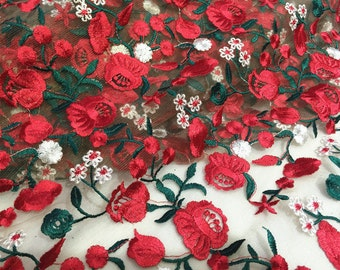 Embroidered flower lace fabric,  floral lace fabric, lace fabric for wedding dress, wedding gown lace fabric , fabric by yard,