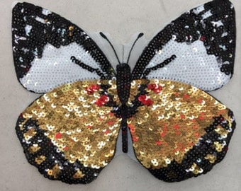Butterfly sequined applique embroidered sew on patch vintage applique patch