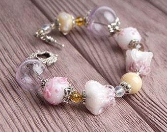 Light pink floral lampwork bracelet, glass flowers bracelet, blush bracelet, ornate bracelet, salmon bracelet, nature bracelet