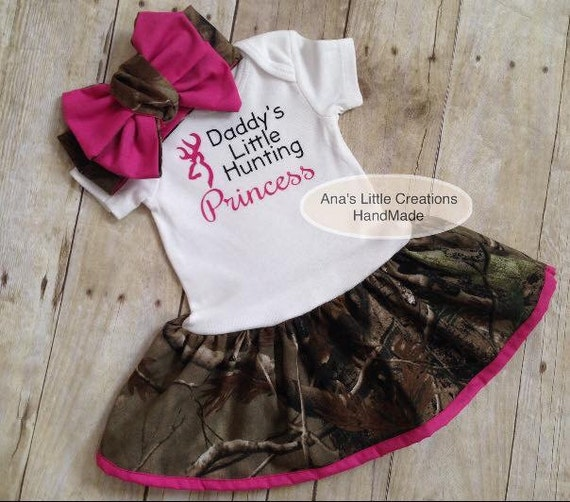 Camo Real Tree Body Suit Dress, RealTree Baby Dress Hot Pink Trim and SelfTied Headwrap/Headband Hot Pink