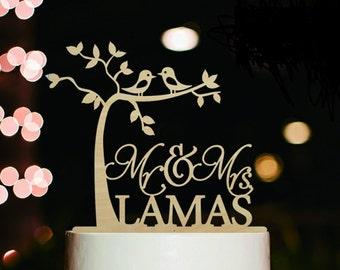 Love Birds Cake Topper, Cake Topper,Wood Wedding Cake Topper, Cake Topper for Engagement, Mr and Mrs Cake Topper, Personalized Cake Topper