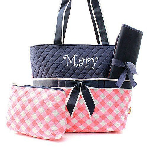 monogrammed coral plaid diaper bag anchor by turtlecovestudio. Black Bedroom Furniture Sets. Home Design Ideas
