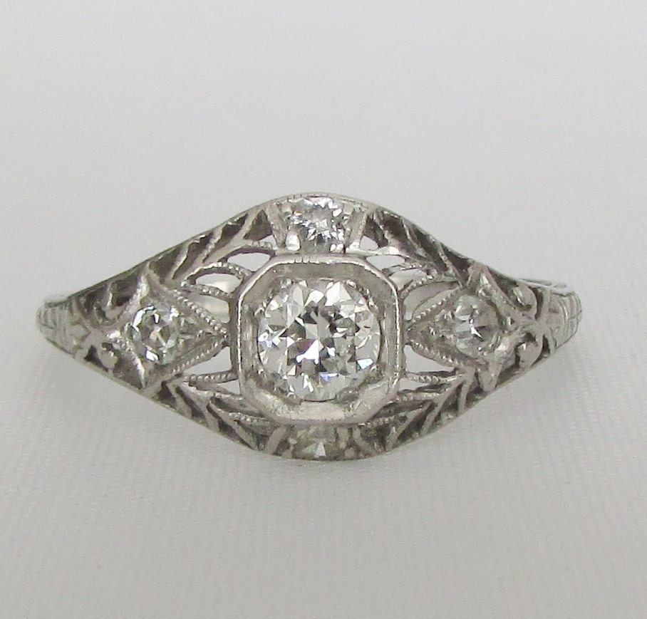 PLATINUM Diamond Filigree Engagement Or Right Hand Ring GIA