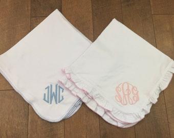 Monogrammed Cotton Receiving Blanket- Pink or Blue Trim