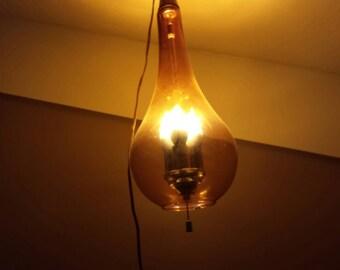 Vintage amber teardrop handblown glass swag lamp