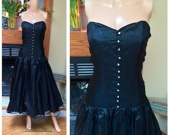 Vintage 80s Party Prom Strapless Crinoline Tulle Rhinestone Glam Dress M L