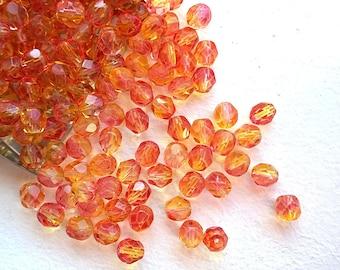 Czech Fire Polished glass beads Dual Coated Fuchsia-Lemon 6mm (50pcs)