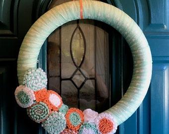 Teal and Coral Wreath, Aqua Ribbon Wreath, Felt Flower Door Decor, Spring Front Door Hanging, Summer Arrow Wreath