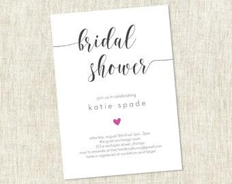 Bridal Shower Invite, Heart Shower Invite, Simple Modern Bridal Shower Invite , Simple Shower Invite - Customizable  - PRINTABLE / DIY