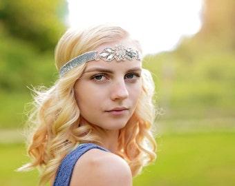 Bridal Forehead Headband - Silver Flapper Headband - Silver Sparkle Bridal Headband - Bridesmaid Headband - Silver Prom Headband for Women