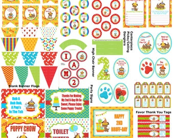 2nd Birthday Puppy Party, DIY Printable Puppy Birthday, Puppy Party Decoration, Dog 2nd Birthday, Puppy Theme Party - Printables 4 Less