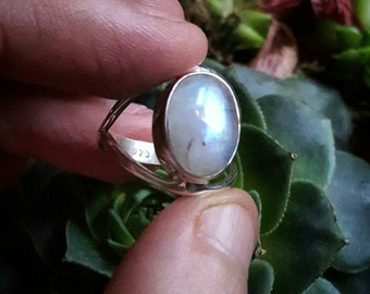 Rainbow moonstone ring sterling silver in size 7.5