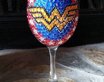 Jewel encrusted Wonder Woman wine glass