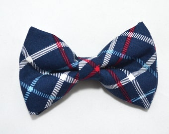Navy Plaid bow tie /For baby/Toddler/Teen/Adult/with Adjust strap/Clip on