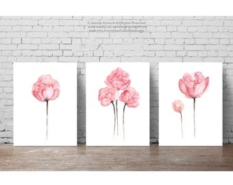 Peony Shabby Chic Watercolor Painting, Pink Nursery Floral Wall Decor, Three Flowers set Watercolor Painting, set 3 Art Print Peonies Poster