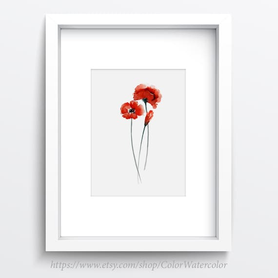 Red Poppy Wall Decor : Poppies painting red wall decor abstract flowers watercolor