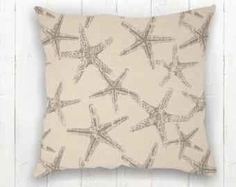 Nautical Starfish Pillow Cover - 18 x 18, Beach Pillow, Taupe Grey Natural, Ocean Decor, Starfish Pillow, Beach Decor, Starfish Cushion