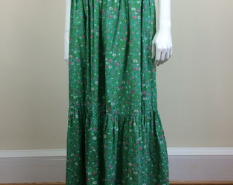 green floral print smocked tiered maxi peasant skirt w/ pockets