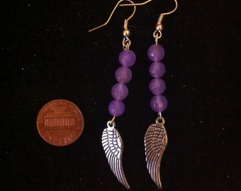 Silver Feather Earrings with Purple Beads, Beaded Feather Earrings, Purple Beaded Jewelry