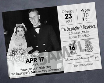 Printable Anniversary Party Invitation - 25th, 50th, celebration - color or bw