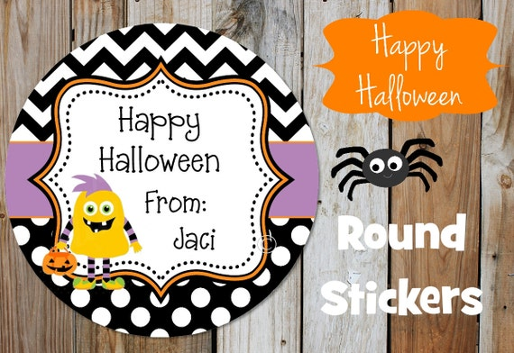 Halloween Stickers - Yellow Monster  - Set of 12 Round Labels - Monster Stickers - Personalized Stickers - Monster Stickers