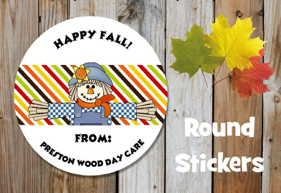 Fall Stickers - Scarecrow Stickers - Set of 12 Round Labels - Personalized Labels - Orange, Brown, Tags, Stickers,