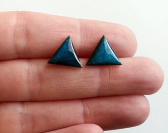 Blue triangle earrings, Wood Triangle Earring Studs, Wood Earrings, Wood Studs, Triangle wood Studs
