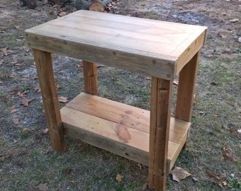 Rustically simple, primitive Kitchen Island or Table from reclaimed pine.
