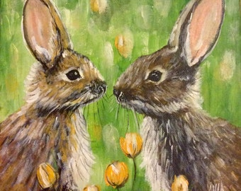 Original Acrylic Painting of Bunnies Canvas Square 20cmx 20cm