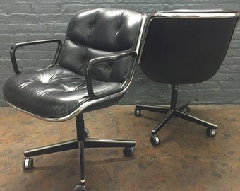 Charles Pollock for Knoll Black Leather Office Chair -- 7 available