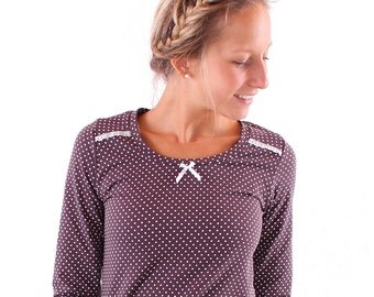 """Top shirt """"Liesl"""" in dark brown with white dots and bows"""