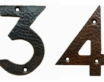 "Arts & Crafts Style Handcut, Hammered Solid Copper House Numbers 4"" High"