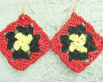 Crocheted Granny square earrings, in yellow black and red